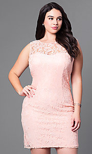 Image of sleeveless short plus-size party dress in lace. Style: DQ-8767P Front Image