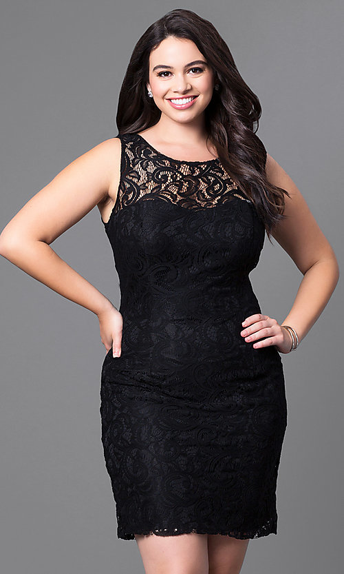 Image of sleeveless short plus-size party dress in lace. Style: DQ-8767P Detail Image 2