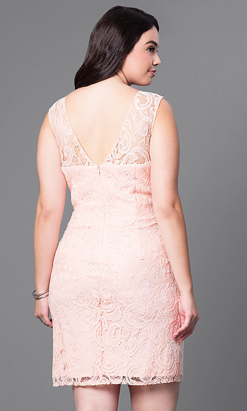 Image of sleeveless short plus-size party dress in lace. Style: DQ-8767P Back Image