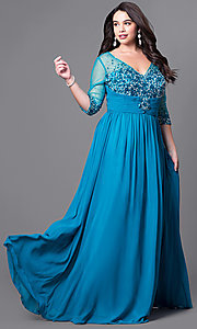 Image of long plus-size v-neck prom dress with 3/4 sleeves. Style: DQ-8855P Front Image