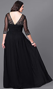 Image of silver plus-size long evening dress with sleeves. Style: DQ-8855Ps Back Image