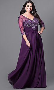 Image of silver plus-size long evening dress with sleeves. Style: DQ-8855Ps Front Image