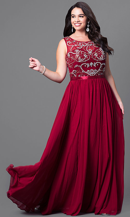 7ca1240fd85 Image of long sleeveless plus-size prom dress with jewels. Style  DQ-