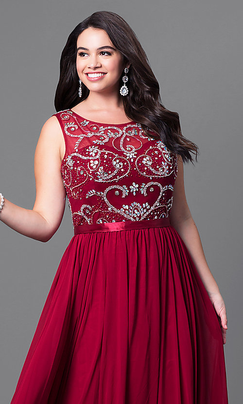 Image of long sleeveless plus-size prom dress with jewels. Style: DQ-8736P Detail Image 1