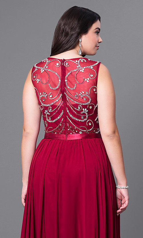 Image of long sleeveless plus-size prom dress with jewels. Style: DQ-8736P Detail Image 2