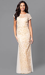 Lace Short-Sleeve Floor-Length Dress