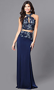 Image of two-piece navy JVN by Jovani prom dress with lace. Style: JO-JVN-JVN51550 Front Image