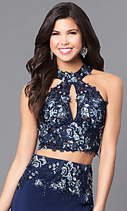 Image of two-piece navy JVN by Jovani prom dress with lace. Style: JO-JVN-JVN51550 Detail Image 1
