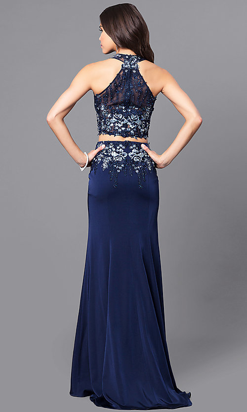 Image of two-piece navy JVN by Jovani prom dress with lace. Style: JO-JVN-JVN51550 Back Image