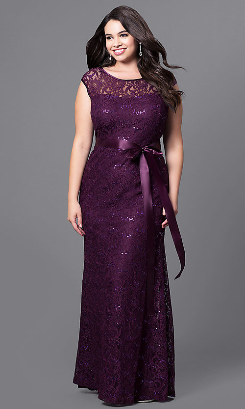 Image of plus floor-length lace and sequin prom dress. Style: SF-8834P Front Image