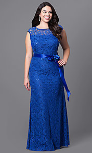 Image of long lace plus-size prom dress with sequins. Style: SF-8834Pb Detail Image 3