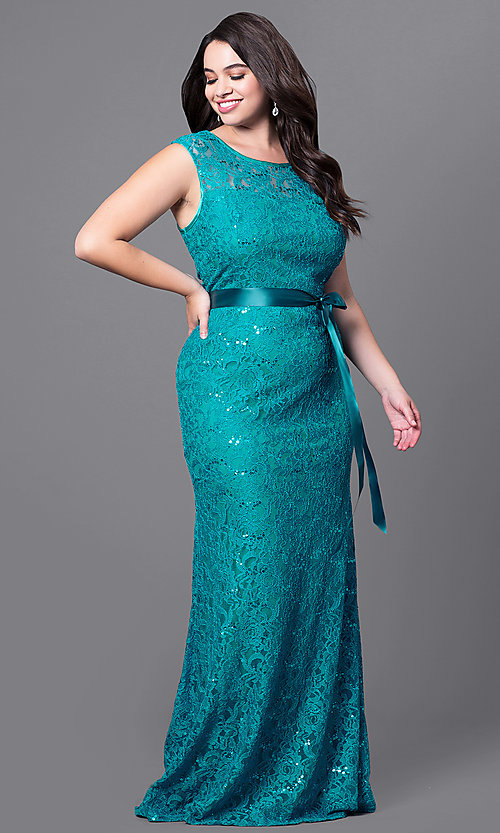Image of long lace plus-size prom dress with sequins. Style: SF-8834Pb Detail Image 1