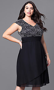 Image of knee-length plus-size party dress with lace bodice. Style: SF-8762P Detail Image 1