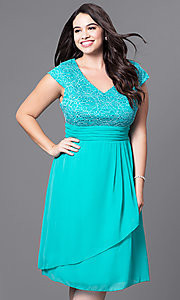 Image of knee-length plus-size party dress with lace bodice. Style: SF-8762P Detail Image 3