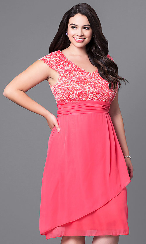 Cap-Sleeve Lace-Bodice Plus-Size Party Dress-PromGirl