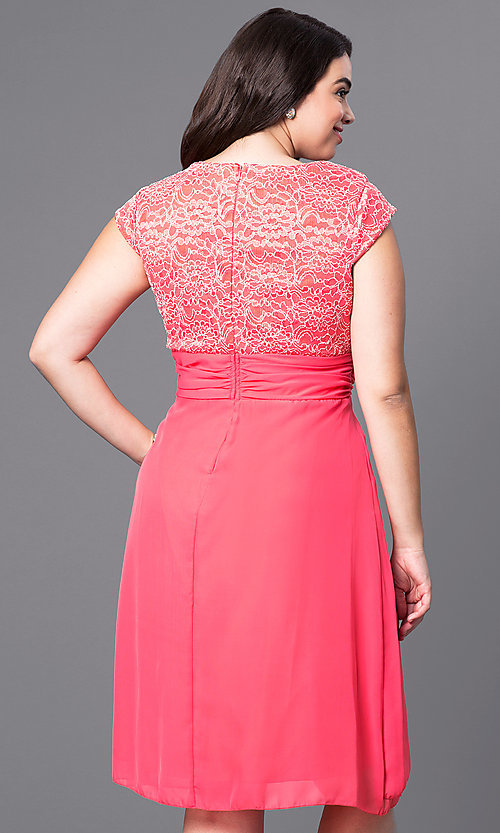 Image of knee-length plus-size party dress with lace bodice. Style: SF-8762P Back Image