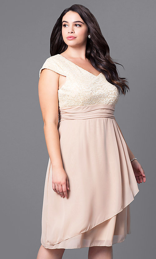 Image of knee-length plus-size party dress with lace bodice. Style: SF-8762P Front Image