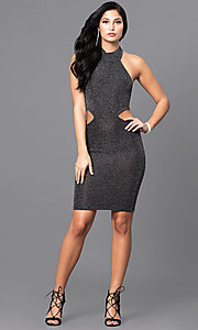 Image of high-neck holiday party dress with side cut outs.  Style: SY-D21553E Detail Image 1