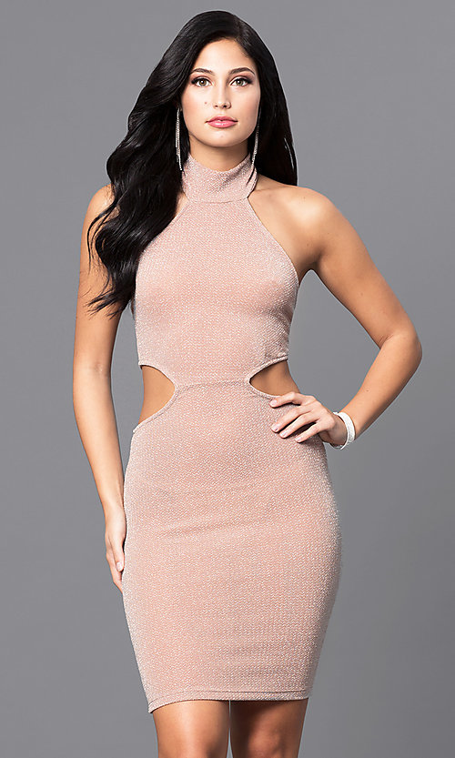 Image of high-neck holiday party dress with side cut outs.  Style: SY-D21553E Detail Image 2