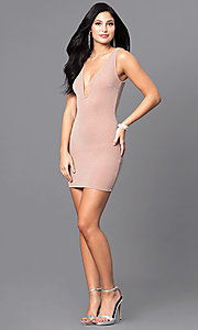 Image of mini sleeveless short party dress in peach nude. Style: SY-D21583A Detail Image 1
