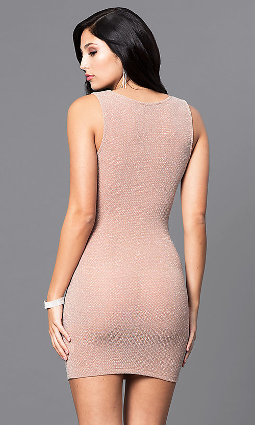 Image of mini sleeveless short party dress in peach nude. Style: SY-D21583A Back Image