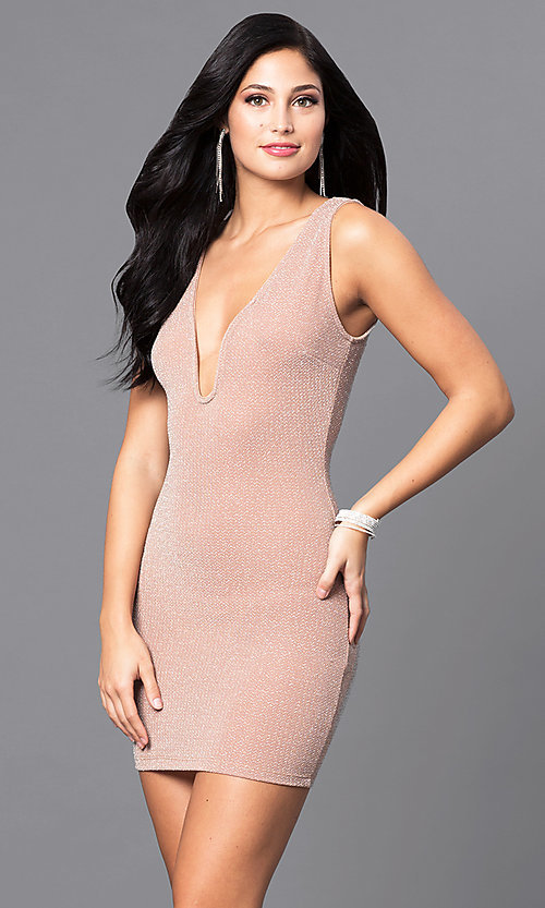 Image of mini sleeveless short party dress in peach nude. Style: SY-D21583A Front Image