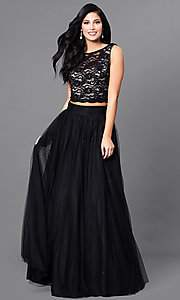 Image of two-piece black and nude prom dress with lace top. Style: JU-49896 Front Image