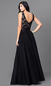 Image of two-piece black and nude prom dress with lace top. Style: JU-49896 Back Image