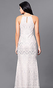 Image of long high-neck cream prom dress with glitter print. Style: JU-49803 Back Image