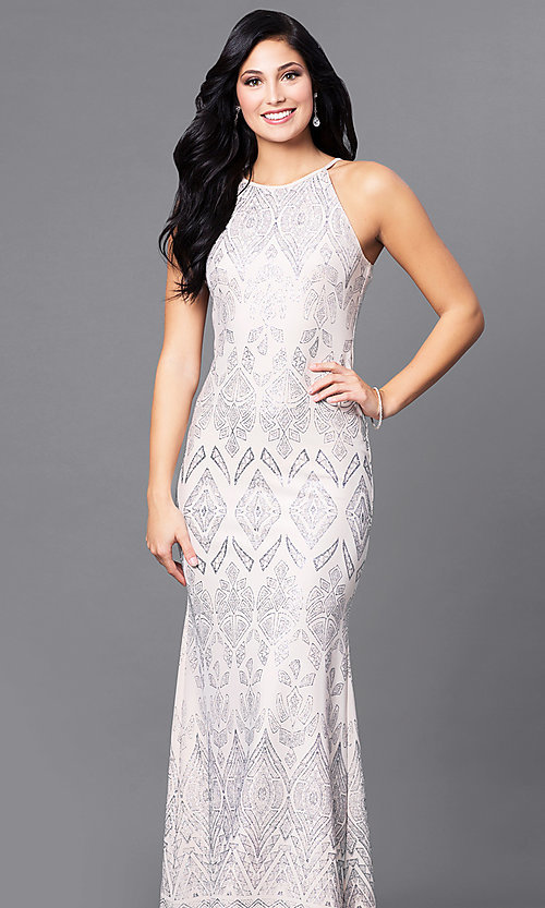 Glitter-Print High-Neck Cream Prom Dress - PromGirl