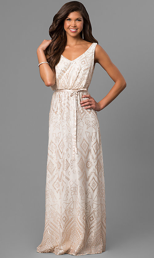 Image of long high-low v-neck prom dress with sequin print. Style: JU-MA-263344 Front Image