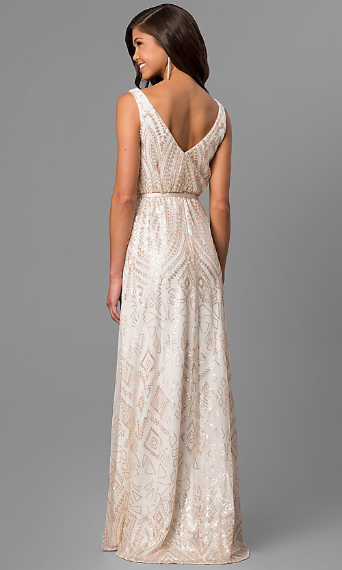 Image of long high-low v-neck prom dress with sequin print. Style: JU-MA-263344 Back Image