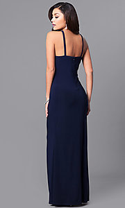Image of long ruched prom dress with embellished cut outs. Style: JU-MA-263415 Back Image
