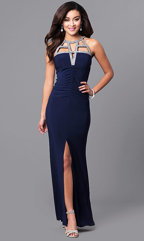 Image of long ruched prom dress with embellished cut outs. Style: JU-MA-263415 Front Image