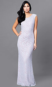 Image of lilac purple long lace prom dress with back cut out. Style: JU-ON-648890 Back Image