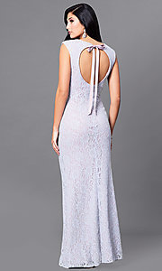 Image of lilac purple long lace prom dress with back cut out. Style: JU-ON-648890 Front Image