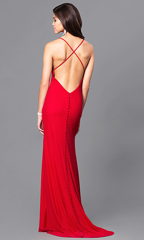 Open-Back Long Valentine Red Prom Dress - PromGirl