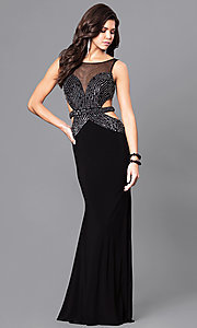 Image of long black prom dress by Blush with side cut outs. Style: BL-PG056 Front Image
