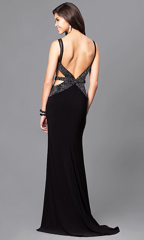 Image of long black prom dress by Blush with side cut outs. Style: BL-PG056 Back Image