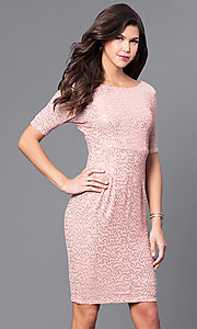 Image of sequin short party dress with half-sleeves. Style: LP-24039 Front Image