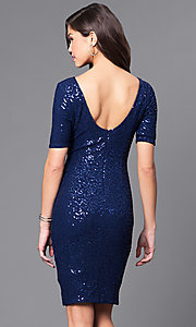 Image of sequin short party dress with half-sleeves. Style: LP-24039 Back Image