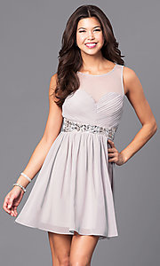 Image of short chiffon party dress with ruched bodice. Style: LP-24173 Front Image