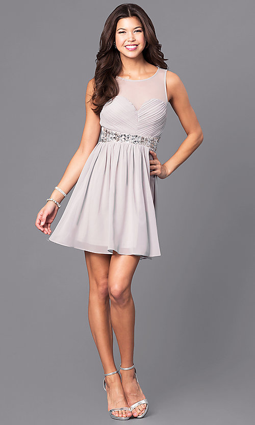 Image of short chiffon party dress with ruched bodice. Style: LP-24173 Detail Image 1
