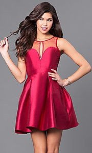 Image of short party dress with scoop-neck illusion neckline. Style: LP-24187 Detail Image 1