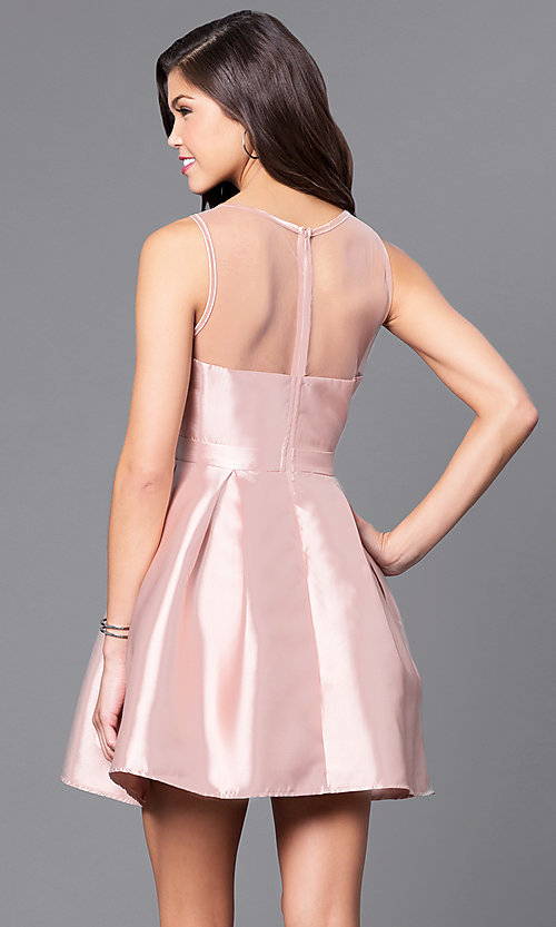 Image of short party dress with scoop-neck illusion neckline. Style: LP-24187 Back Image