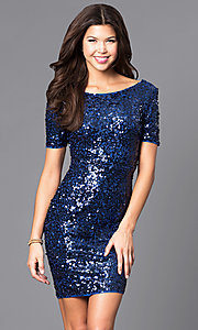 Image of short sequin party dress with short sleeves.  Style: LP-24265 Front Image