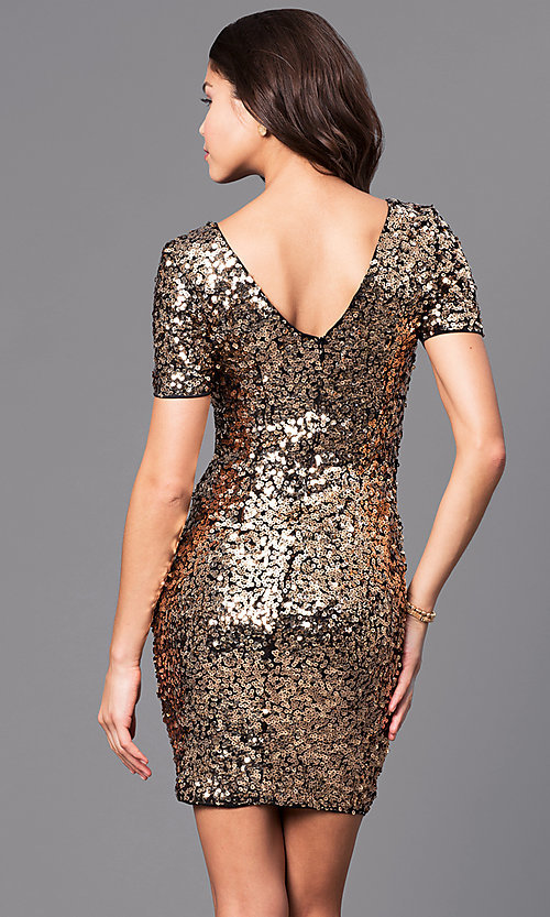 Image of short sequin party dress with short sleeves.  Style: LP-24265 Back Image