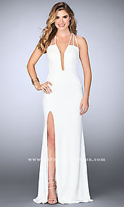 Image of v-neck La Femme long prom dress with open back. Style: LF-24355 Detail Image 3