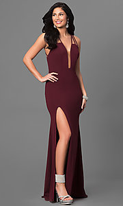 Image of v-neck La Femme long prom dress with open back. Style: LF-24355 Front Image