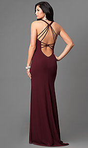 Image of v-neck La Femme long prom dress with open back. Style: LF-24355 Back Image